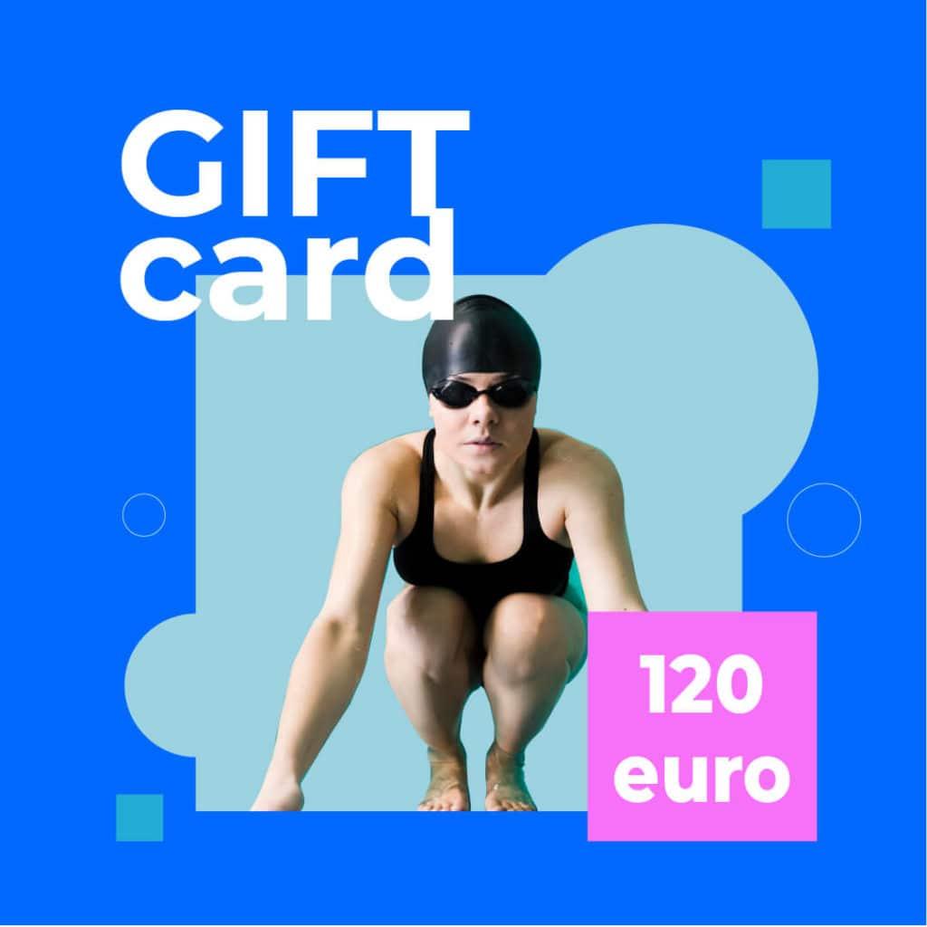gift card 120 euro con nuotatrice in costume cuffia e occhialini